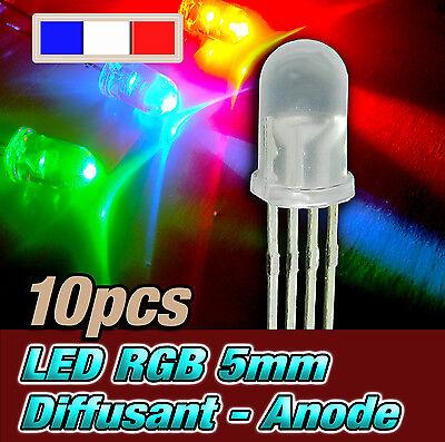 718D//10# LED RGB 5mm ronde diffusant rouge vert bleu 5mm anode commune 10pcs