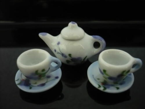 Purple Orchid Hand Paint Coffee Cup Saucer Teapot Dollhouse Miniatures