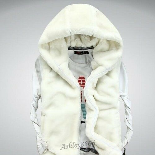 New Soft Faux Fur Men Boy Waistcoat Jacket Hooded Winter Warm Coat Vest Sleeves