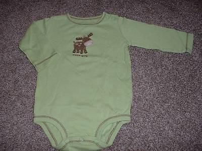 Carter's Baby Boys Green Moose L/S Bodysuit Size 6 Months 6M Little Guy 3-6 mos