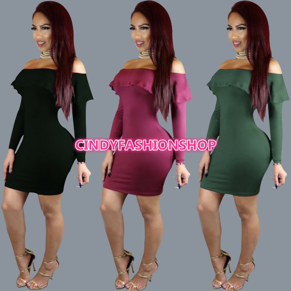 f4f398531a08 Details about USA Women Sexy Ruffle Long Sleeve Bodycon Club Off Shoulder  Vintage Party Dress