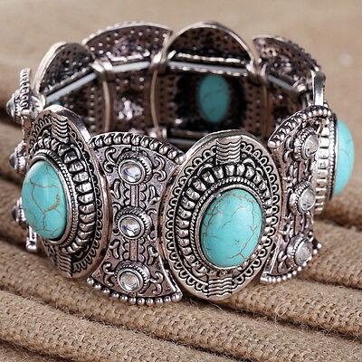 VintageTibetan Silver Oval Shape Turquoise Bangle Bracelet  Lady Hot Sale