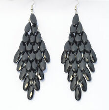 RF BLACK Peacock  Tail Style Light Alloy Stone Long Dangle Hook Drop Earrings
