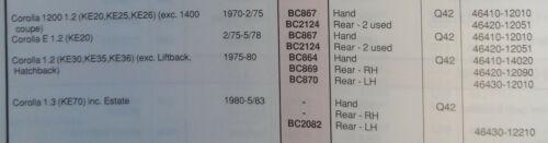 TOYOTA Corolla KE30 35 36 cavo dei freni BC870 controllare la compatibilità