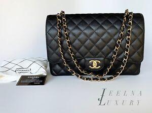 05954c30717 Auth Chanel 2018 Classic Black Caviar Maxi Double Flap Bag Gold ...