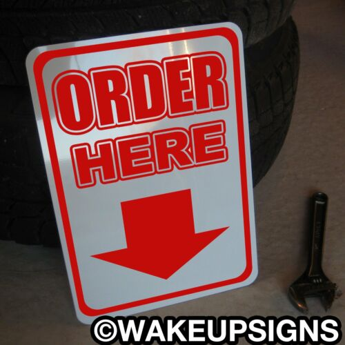 """PLACE ORDER HERE SIGN RESTAURANT STORE BUSINESS CASHIER PIZZA ALUMINUM 10/"""" BY 14"""