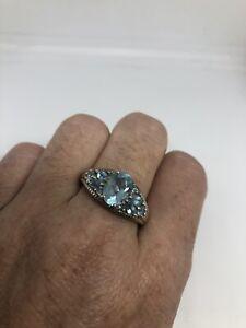 Vintage-Blue-Topaz-Ring-925-Sterling-Argent-Taille-9