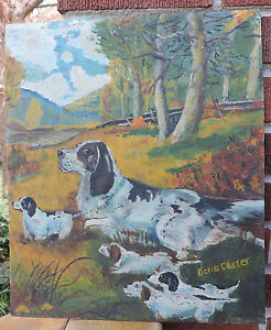 Vintage Folk Art Spaniel Dog Puppies In Woods Landscape Painting