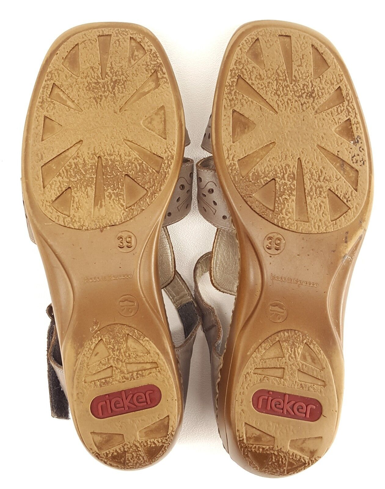 Rieker femmes comfort chaussures 39 T-strap mary mary mary jane sandals leather cutouts taupe ffa346