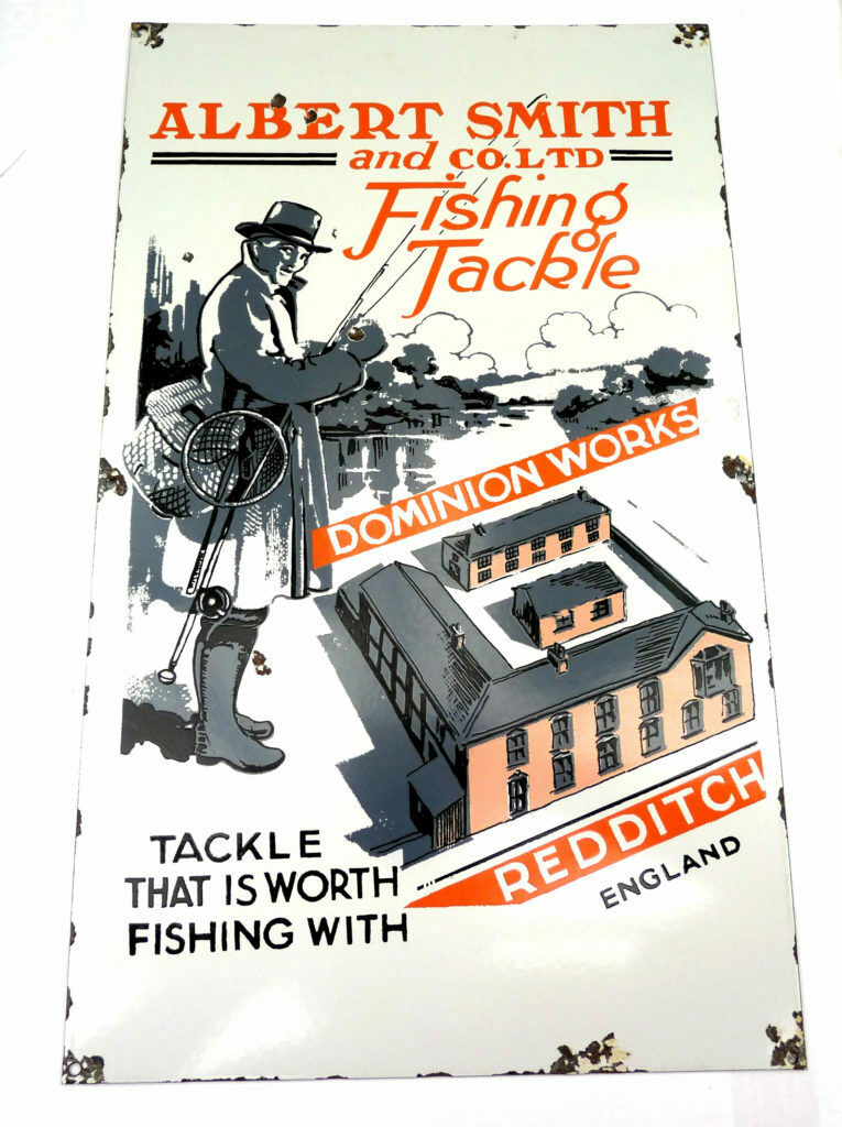 Albert Smith of rotditch enamel tackle adGrünising sign in colour, great for ...