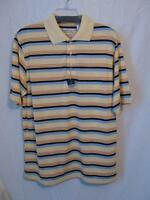 Tehama 211122 Short Sleeve 3 Button Striped Polo Golf Shirt Yellow Blue Mens
