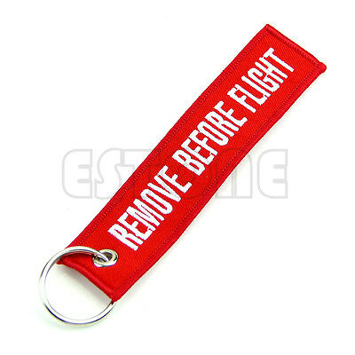 2x Remove Before Flight Key Chain Luggage Tag Pull Woven Embroidery Keychain Hot