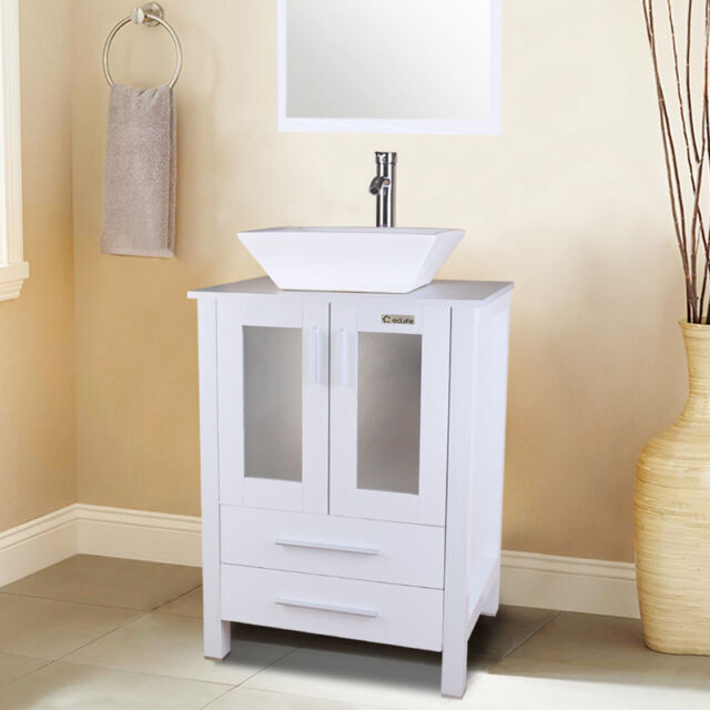 Bathroom Vanity Modern Wall Mounted White With Ceramic Top 60