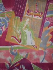 """F~64""""x1YD~VINTAGE Polyester STRETCH KNIT~Fabric~ABSTRACT ART Ladies in Chairs"""