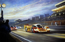 Signed by Mario and Michael Andretti at Le Mans Porsche 956 print Alan Fearnley