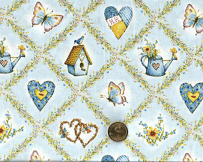 "Holly Hobby Hearts Bird House Flowers Water Can on Blue Cotton ""FAT QUARTER"""