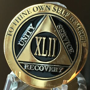 42-Year-AA-Medallion-Black-Gold-Plated-Bi-Plate-Alcoholics-Anonymous-Chip-Coin