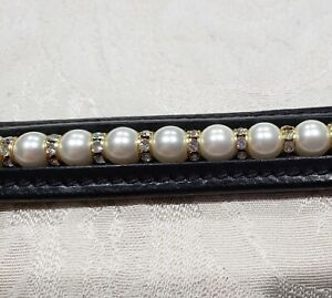 Noir Cuir Bracelet Avec Swarovski Blanc Perles & Cristal Transparent Rondells-afficher Le Titre D'origine