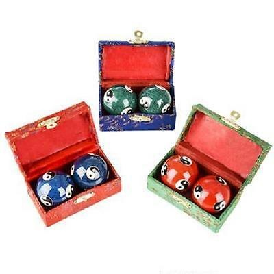 3 SETS YING YANG CHINESE BAODING CHIMES HEALTH STRESS RELIEF THERAPY BALLS #AA52