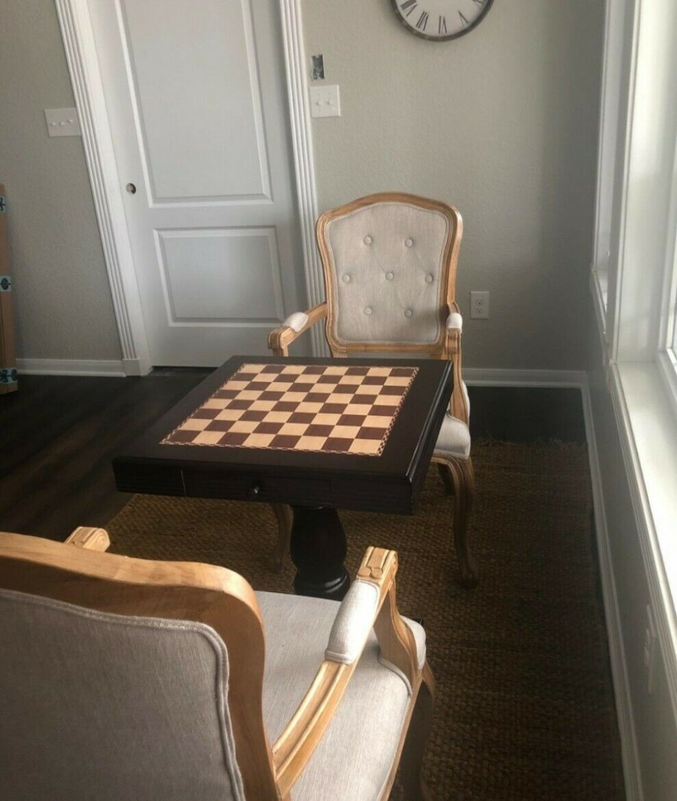 Vintage Coffee Chess Table Table Table Drawers Storage Classic Game Board Play Home Decor 92b4de