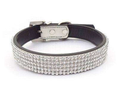 New Bling Diamante Rhinestone Crystal Leather Pet Dog Cat Puppy Collar S M L