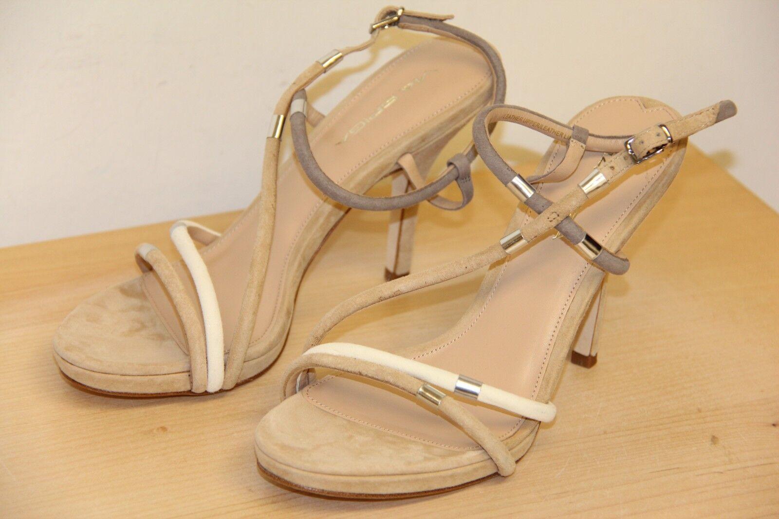 NIB Via Spiga GENE Suede Suede Suede Open Peep Toe Sandals Sz 8 M Cappuccino grau Cream 1e05f3