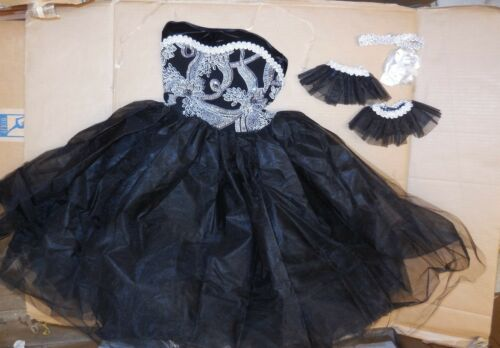 NWT LONG Romantic BALLET COSTUME GLITTERED Silver Black Ladies Attached tulle sk