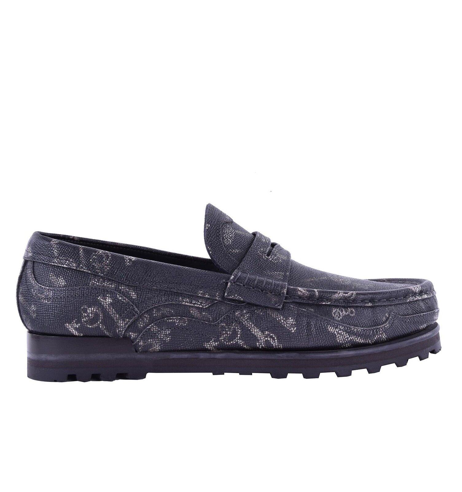 DOLCE & GABBANA Dauphine Leder Mokassins GENOVA mit Schlüssel Print Schuhe 04998