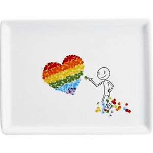 Crate-amp-Barrel-CB2-OLIVER-APPETIZER-PLATE-RAINBOW-CANDY-HEART-PRIDE-RETIRED