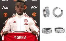 Da Uomo/Ragazzo: Man Utd POGBA 18ct Bianco Placcato Oro Effetto Diamante Orecchini abbraccino