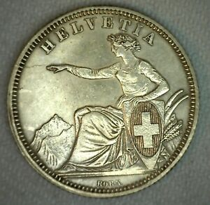 1861-B-Switzerland-Franc-Coin-Silver-Almost-Uncirculated