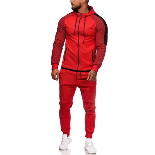 Mens Tracksuit Set Camo Hoodie Tops Jogging Pants Bottoms Jogger Sports Gym Suit