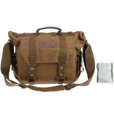 Brown Canvas Messenger Camera Shoulder Bag For Olympus OM-D E-M1 E-M5 E-M10 E-5