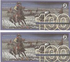 United States De La Rue 100 Dollars UNC Test Note Banknote - Cowboys