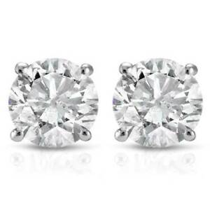 1-2Ct-Round-Genuine-Diamond-Studs-Earrings-in-14K-White-Or-Yellow-Gold