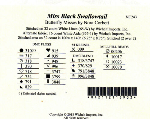 MD Mirabilia NC Miss Black Swallowtail crossstitch pattern NC243 Pub May 2018