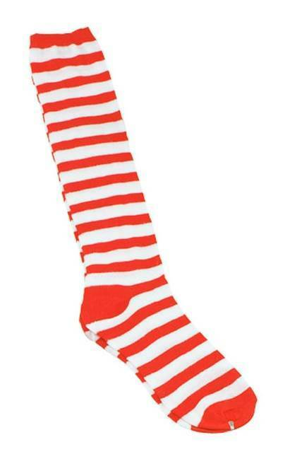 Acheter Pas Cher Clown Chaussettes. Rouge/bande Blanche, Wally, Fun Legwear, Robe Fantaisie Prix Le Moins Cher De Notre Site