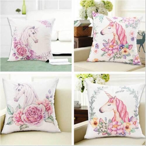 Cotton Linen Cartoon Unicorn Sofa Cushion Cover Throw Pillow Case Home Decor UK