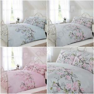 Eloise Floral Duvet Cover Sets Pink Grey Duck Egg Blue
