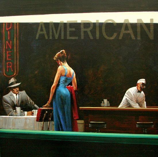 Brent Lynch  Sera Proposition Stampa su Tela con Telaio Paio BAR Diner Americano