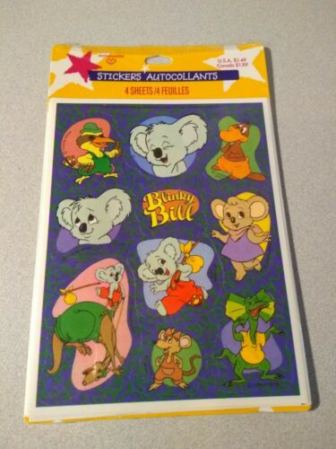 Vintage Hallmark 1990 Blinky Bill Stickers 4 Sheets Per Package