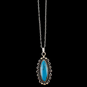Turquoise-Oval-Shaped-Charm-Sterling-Silver-Pendant-On-Chain-Necklace