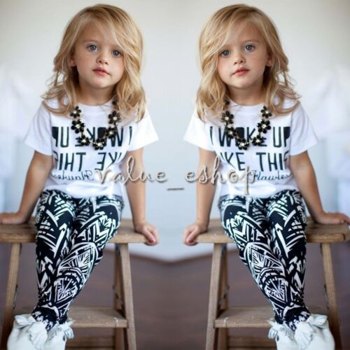 2pcs Toddler Kids Baby Girl Outfits T-shirt Tops+Pants Casual Clothes Set Outfit