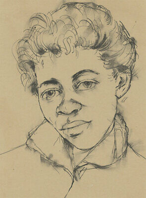 C.1970s Pen And Ink Drawing Portrait Of A Young Man Fine Quality Dedicated Peter Collins Arca