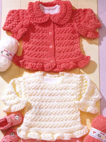 "24/"" ~DK Knitting Pattern Baby Cardigan /& Tunic Frilly Hem//Cuff //Collar 16/"""