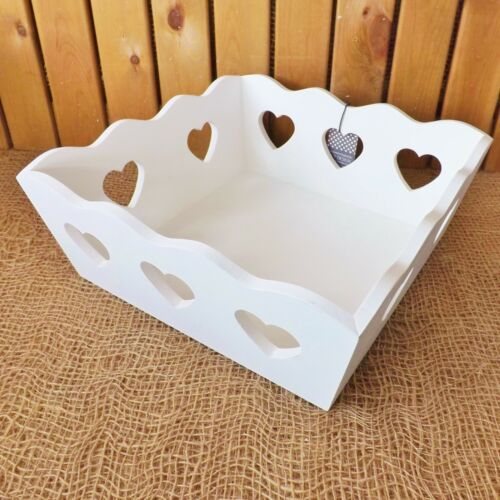 White Grey Washed Rustic Wooden Storage Basket Box Heart Cut Out Fruit Trinkets
