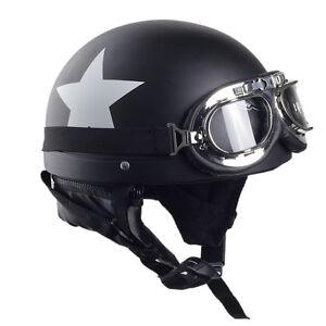 CARCHET-Moto-Casque-etoile-Visiere-Goggle-Chapeau-Bavoir-Recurer-Blanc-Noir