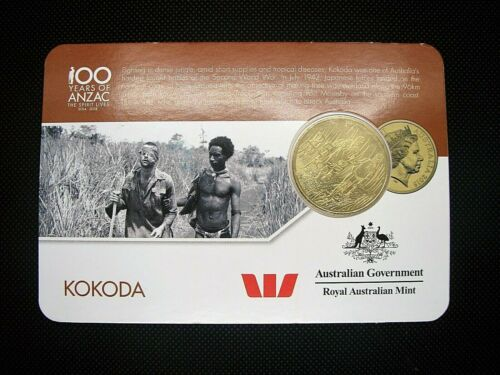 """2016 25 cents /""""KOKODA/""""  Nordic Gold uncirculated specimen coin in card of issue!"""
