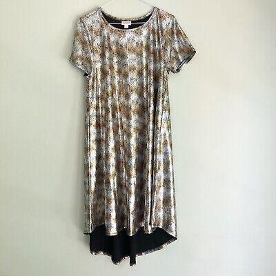 NWT LuLaRoe Women/'s Silver//Gold Metallic Elegant Carly A-Line Dress Sz XXS