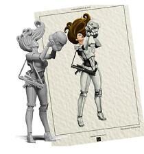 classic 75MM Star Wars White female figure Resin Model Kit Unpainted Assemble